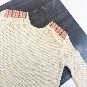 Womens Billabong Boho Cream Colorful Knit Sweater